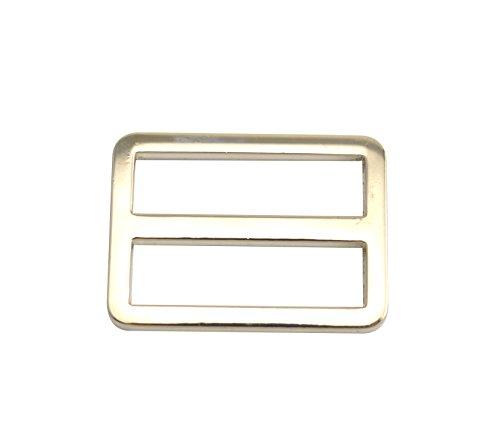 Wuuycoky Silvery Zink Legering Vulling Rechthoek Gesp Gebogen Tri-Glide Slider Verstelbare Ring Grootte Optioneel Inner length:1.25