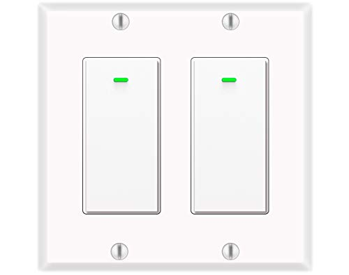 Alexa Light Switch, Double Smart WiFi Light Switches, Smart Switch 2 Gang Compatible with Alexa and Google Home, Neutral Wire Needed, with Remote Control, Timing Schedule, No hub Required (2Pack)