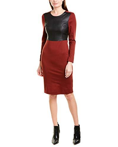 BCBG Womens Maxazria Mixed Media Sheath Dress, S, Red