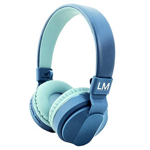 Auriculares Bluetooth para Niños, Louise & Mann Cascos Bluetooth Auriculares de Diadema con 85dB Volumen Limitado, Auriculares Ajustable y Plegable, Micrófono para Niñas y Niños, Azul