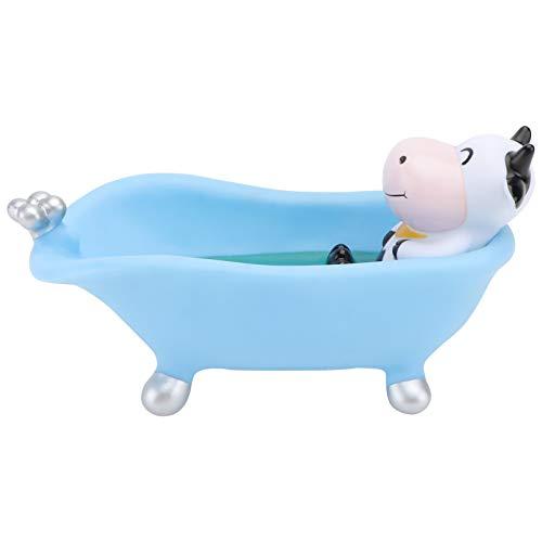 Amosfun Seifenschale Seifenhalter Kunststoff Kuh Figur Statue Dekofigur Seifenstücke Seifenkiste Schwammhalter Seifenhalterung für Badezimmer Dusche Küche Waschbecken Wäscher Blau