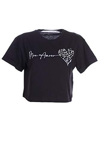 SHOP ART Camiseta corta con pedrería. Negro M