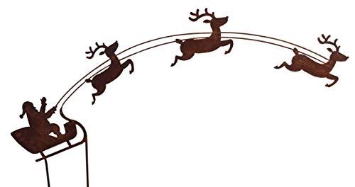 Vosteen Papá Noel en trineo óxido Jardín Decoración para Jardín (Acero Inoxidable