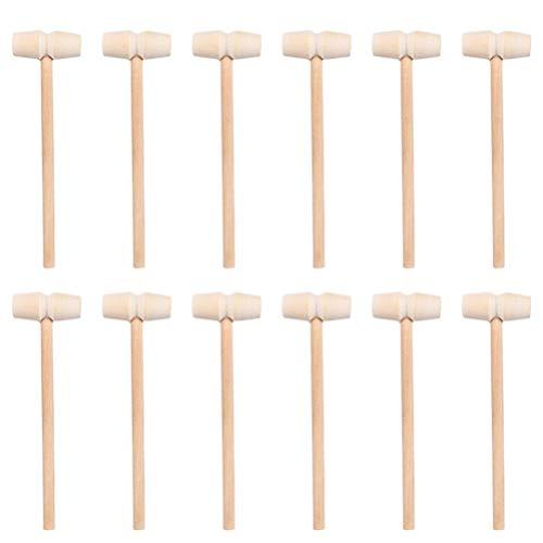 Stobok - Lote de 40 martillos de madera para martillos de madera natural, mazos de cangrejo, martillos para rompecabezas, chocolate y piñata