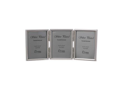 Evergreen Tarnish bestendige dubbele fotolijst, dunne rand, zilver gecoat, zilver, 3 x 2,5 x 3,5 inch, 2,5 x 3,5 inch