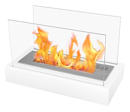 Chimenea Biokamin Nice-House Lette con Glaspaneel. Chimenea de bioetanol de color blanco. Chimenea ecológica para colocar en mesas, armarios o cómodas. Jardín y terraza biochimenea