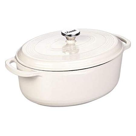 Amazon Com Lodge Enameled Cast Iron Oval Dutch Oven 7 Quart Oyster White Kitchen Dining