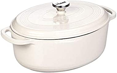 Lodge Enameled Cast Iron Oval Dutch Oven, 7-Quart, Oyster White