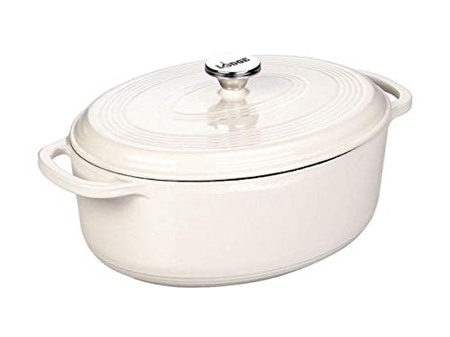Lodge EC7OD13 Enameled Cast Iron Oval Dutch Oven 7Quart Oyster White