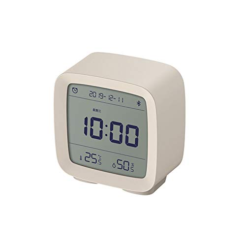 MIJIA ZEYUE Bluetooth Despertador, Pantalla de Humedad y Temperatura Pantalla LCD Luz Nocturna Ajustable (Blanco)