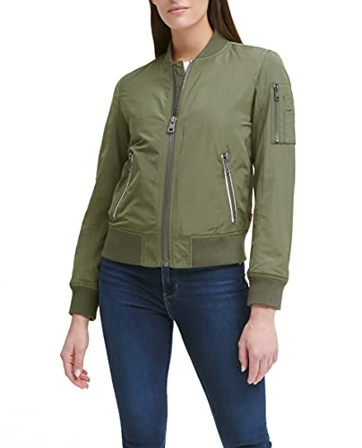 Levi's Women's Poly Bomber Jacket with Contrast Zipper Pockets, Army Green, Large