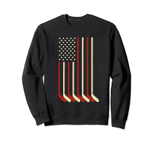 Hockey Torwart Geschenk USA Flagge Hockeyschläger Eishockey Sweatshirt