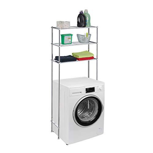 Relaxdays Tvättmaskinshylla metall, 3 hyllor, hylla tvättmaskin, torktumlare, toalett, badrumshylla HBT 162,5 x 67 x 30 cm, silver
