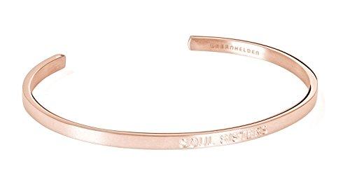 URBANHELDEN - Armreif mit Gravur - Damen Schmuck Inspiration Freundschaft - Verstellbar, Edelstahl - Armband mit Spruch