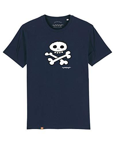 Camiseta Callate La Boca Azul Marino Calavera Blanca (S)