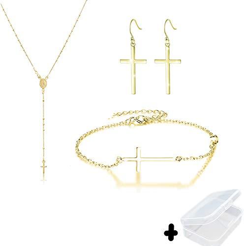 PPX 4 Piezas Collar, Aretes y Pulsera Oro Virgen María Jesús Cristo Crucifijo Cruzar Cruz Bola Bead Rosario,con Caja Transparente