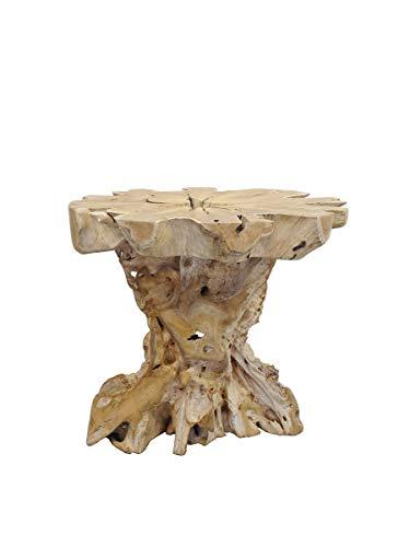 Antike Fundgrube Stehtisch aus Wurzelholz Teak | Bartisch Garten-Tisch | Natur unbehandelt | D: 110 cm (9203)