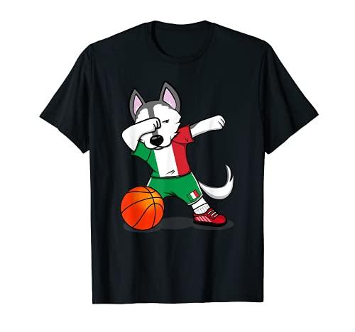 Dabbing Husky Perro Baloncesto de Italia - Bandera Italiana Camiseta