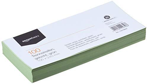 Amazon Basics – Trennstreifen, aus recyceltem Manilapapier, vollfarbig, gelocht, 10,5 x 24cm, 160g/m², 100Stück, Grün
