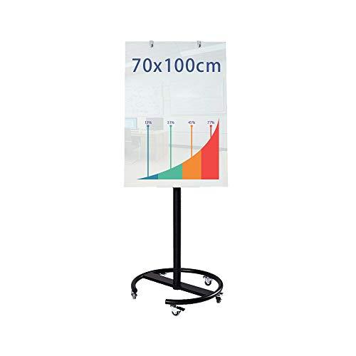 Tableau blanc Verre réglable Angle universel tableau blanc avec roue Portable magnétique mobile Demo Board Costume for Bureaux tableau blanc Tableau blanc mobile ( Color : Black , Size : 70x100cm )