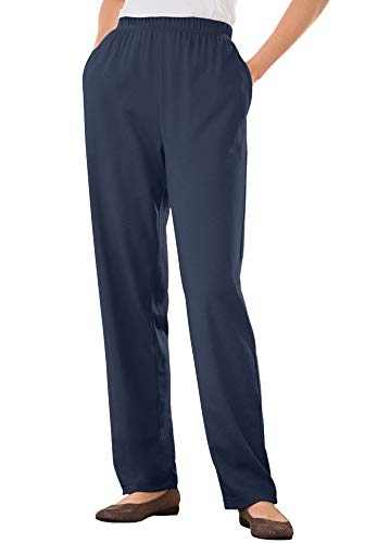 Woman Within Women's Plus Size 7-Day Knit Straight Leg Pant - L, Navy Blue