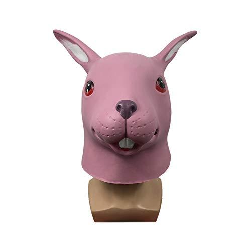 ZHANGXIAOYU Tapas de Conejo Lindo máscara de la Mascarada de Halloween Divertido Animal Tocado Partido de la demostración apoyos (Color : Pink)