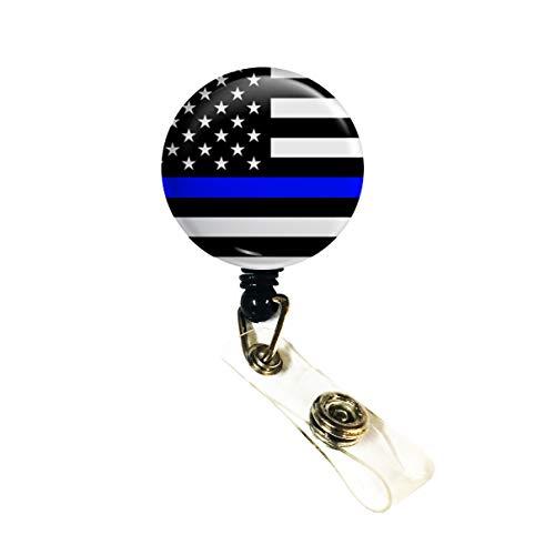 Wigspedia Retractable Name ID Badge Holder Reel/ID Badge Holder - Police Thin Blue Line Flag (Alligator Clip, Thin Blue Line - Flag)
