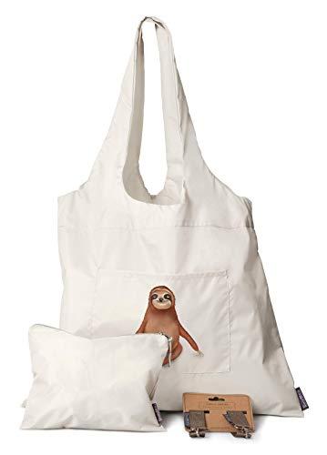 Große Faltbare Einkaufstasche | 3er Set - Tasche + Kinderwagen Haken + Kosmetiktasche | Perfekt auch als Schwimmbadtasche oder Kinderwagen Organizer | Shopper aus Nylon mit ein süßes Faultier
