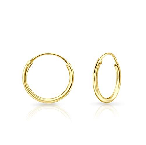 DTPsilver - Damen - Klein Creolen - Ohrringe 925 Sterling Silber und Gelb Vergoldet - Dicke 1.2 mm - Durchmesser 14 mm