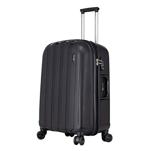 Virtually Indestructible Hard Shell Luggage Suitcase - 3 Piece Set (56 cm, 66 cm, 77 cm) 8 Heavy Duty Wheels, TSA Lock (3 Piece Set, Black)