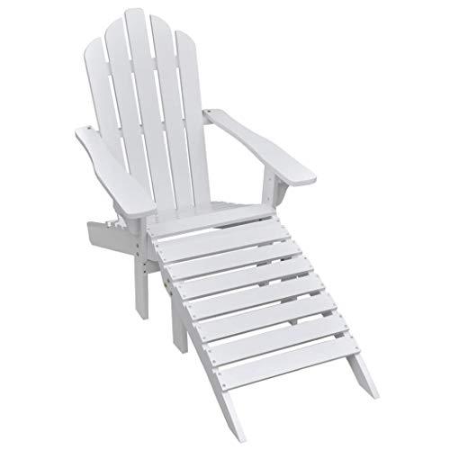 SKM Garden Chair with Ottoman Wood White -0859