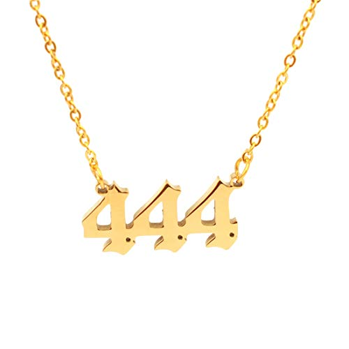 Angel Number Necklace For Women, Gold Plated Dainty 111 222 333 444 555 666 777 888 999 Pendants Choker Chain Numerology Jewelry (444-Gold)