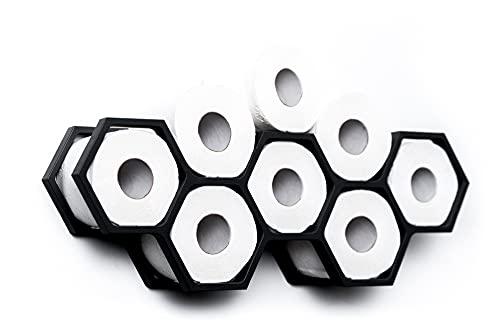 Porte-papier en bois pour papier toilette - Étagère en forme de nid d'abeille (Noir)