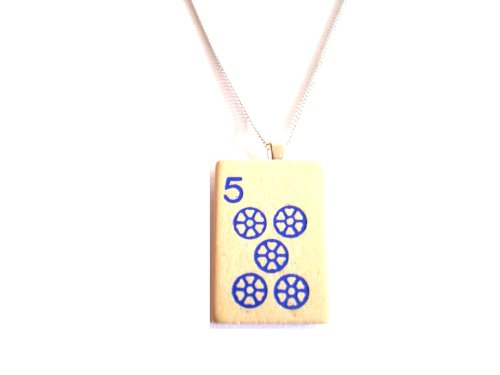 English Gems mAh-Jong Halskette Auswahl aus Holz blau Fliesen in Organza Tasche