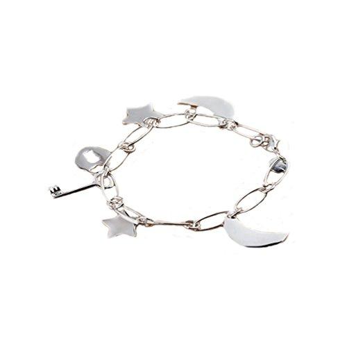 HMILYDYK Design Simple Jewelry - Pulsera de plata de ley 925, diseño de estrella y luna