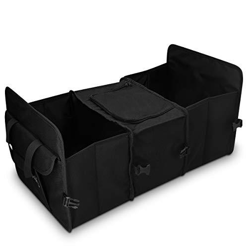 Navaris Organizer multitasca Bagagliaio Auto - Contenitore portaoggetti con Borsa frigo 59x32cm - Porta Oggetti Pieghevole 5 Scomparti Cofano Macchina
