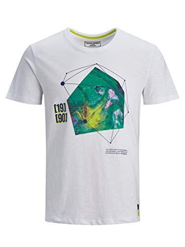 Jack & Jones Jcopax SS tee Crew Neck Camiseta, Blanco, S para Hombre