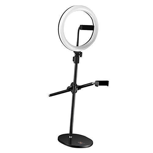 #N/A/a Anillo de Luz para Selfie de 10 Pulgadas, Anillo de Luz LED con Soporte Ajustable/Soporte para Teléfono, Luz Circular LED Regulable para Cámara para - Doble teléfono sostenedor