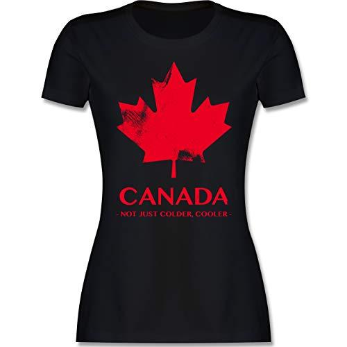 Länder - Canada Vintage Not just Colder Cooler - L - Schwarz - Shirt Canada Damen - L191 - Tailliertes Tshirt für Damen und Frauen T-Shirt