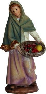 Unbekannt Krippenfiguren Magd mit Obstkorb, geeignet für 15cm Figuren