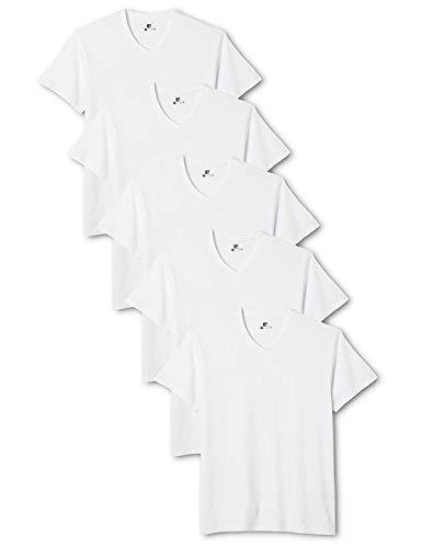Lower East Herren T-Shirt mit V-Ausschnitt, 5er Pack, Einfarbig, Gr. Large, Weiß