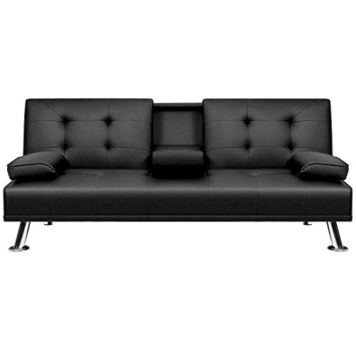 VICTONE Futon Sofa Bed Modern Faux Leather Couch Bed Convertible