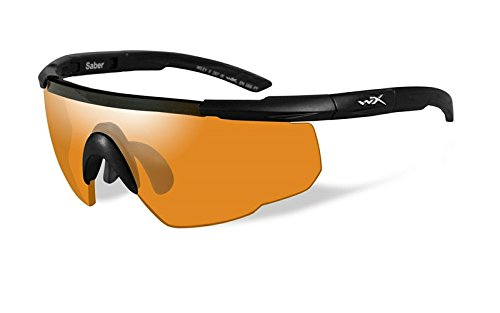 Wiley X Saber Advanced Sunglasses, Smoke Grey/Light Rust/Vermillion, Matte Black