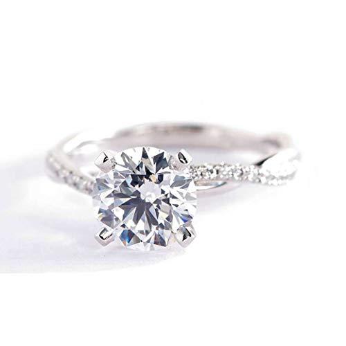 Anillo de compromiso de platino con diamante de corte redondo SI2 F de 1,15 quilates