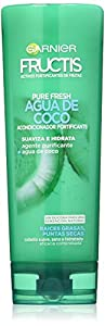 Garnier Fructis Pure Fresh Agua de Coco - Acondicionador Fortificante que Suaviza e Hidrata para Raíces Grasas y Puntas Secas, 300 ml