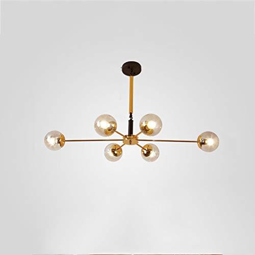 YANGHONG-Araña de estilo industrial- Luz moderna Lámpara de araña 6 Diseño Lámpara de araña Iluminación Accesorios de iluminación de techo medieval de latón alámbrico (Color: Cálido Light-6 Lights) /