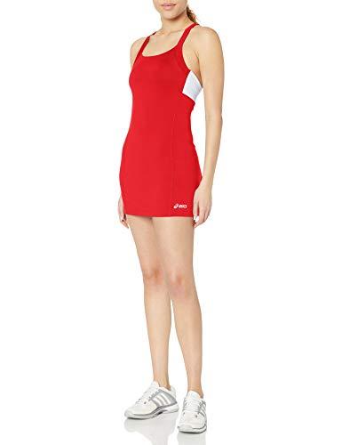 Asics - Vestito da Donna a Maniche Corte, Donna, Vestito, TE2523, Rosso/Bianco, XS