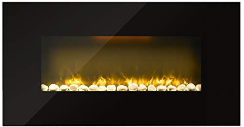 FlinQ Elektrischer Kaminofen | Elektrokamin 105zm Durchmesser | 1000W - 2000W einstellbar | Wandkamin Elektrisch mit Heizung Funktion und Fernbedienung | Fireplace | Schwarz