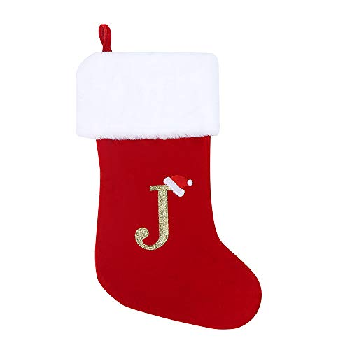 wlflash 20 Inches Super Soft Plush Monogram Christmas Stockings Xmas Personalized Stocking Embroidered Letter Decoration for Decor- Embroidered Letter (J)