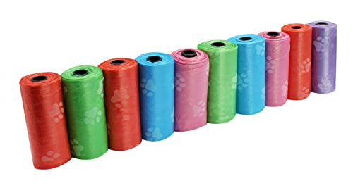 Pet Waste Bags Dog Poop Bags 15 Bags Per Roll Variety of Colors Doggies Bags (Pack of 10 rolls/15 Bags per roll)